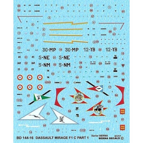 Decals Dassault Mirage F1C Part 1 12-YB, 30-MP, 5-NE, 5-NM (4 schemes)