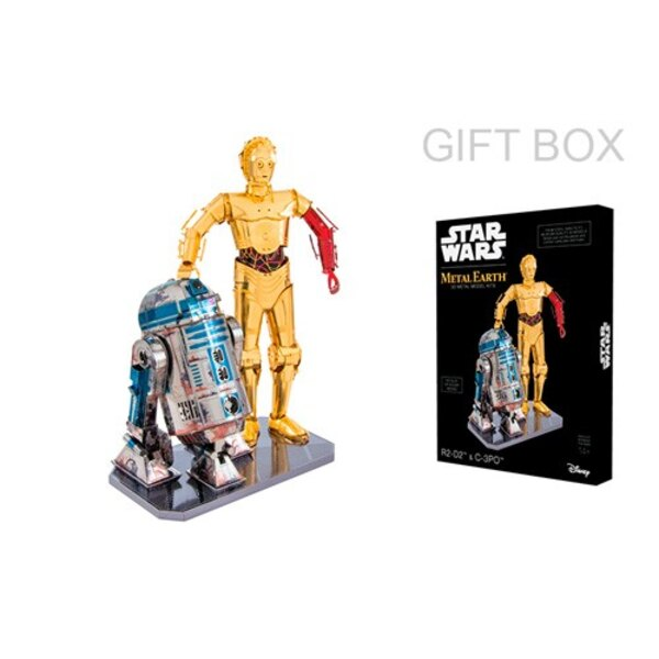 MetalEarth GIFT BOX: STAR WARS / R2-D2 & C-3PO, metal 3D model with 5.5 sheets, gift box, 14+