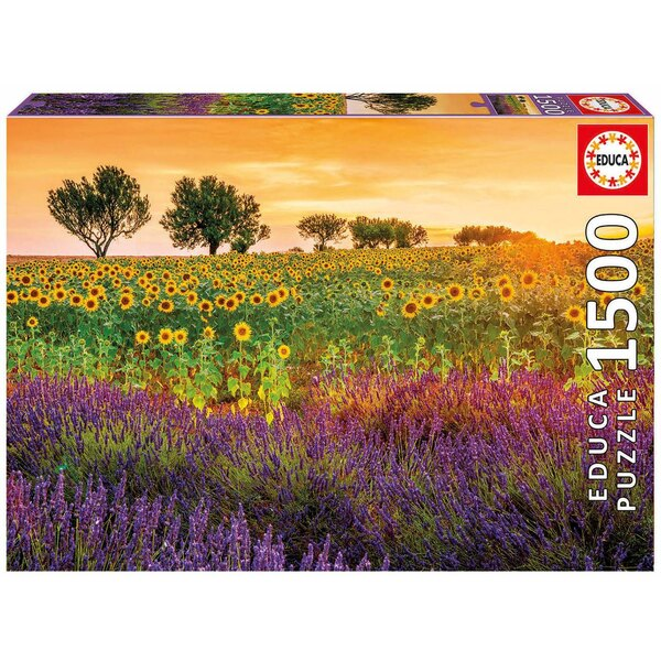 Puzzle Field of sunflowers and lavender