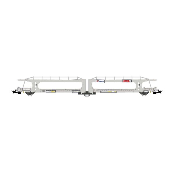 STVA / RENFE, gray car transport wagon, loaded with white resin cars