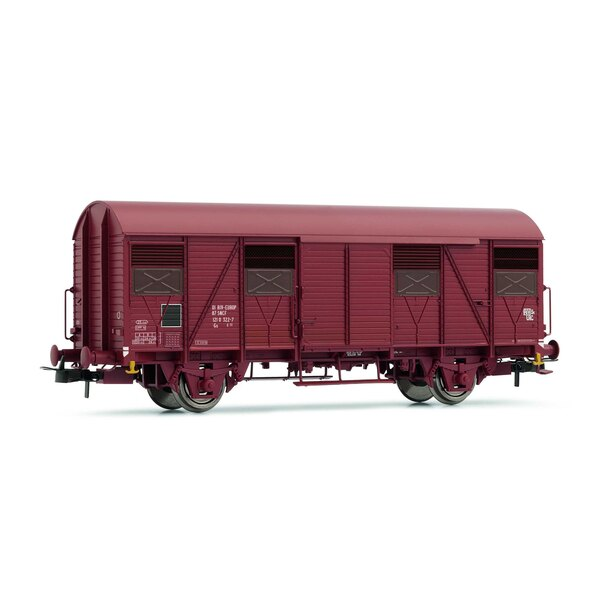 Set of 2 box covered wagons G4 with open shutters SNCF era IV