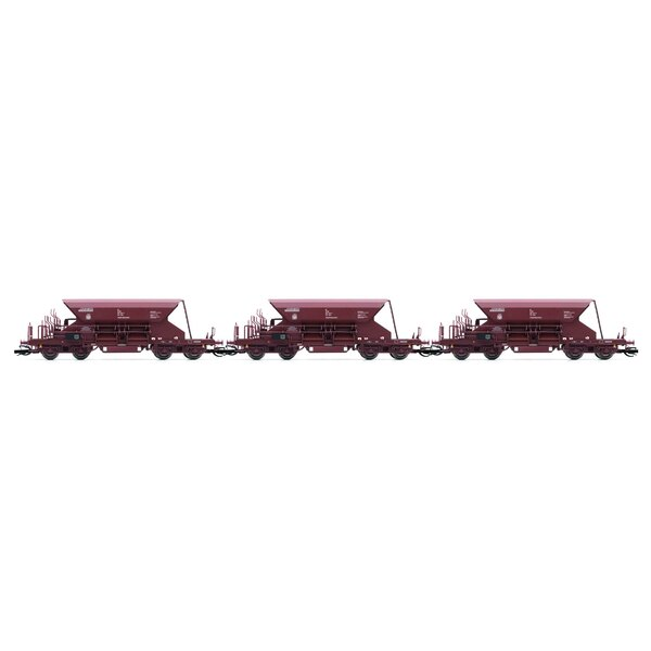 Set x 3 self-discharging ballast wagons with high top box, Fac, brown livery, period 4