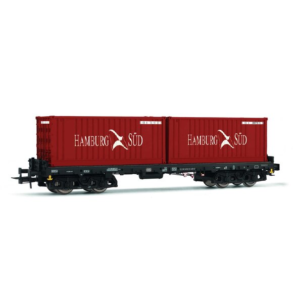 """DB AG, Sgmms 738, container wagon with 2 x 20"""" container """"Hamburg Süd"""", epoch IV"""