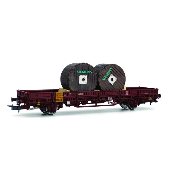 """DB, 2-axle flat wagon Kls, loaded with two cable drums """"SIEMENS"""", epoch IV"""