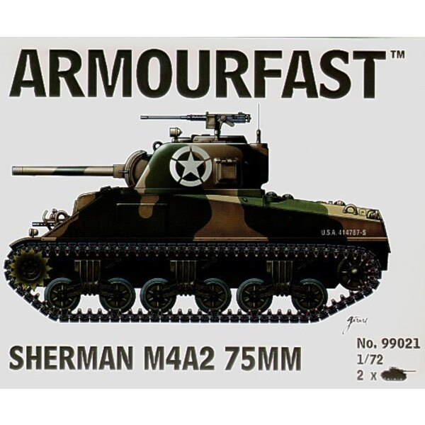Sherman M4A2 75mm: the pack includes 2 snap together tank kits