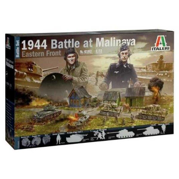 1944 Battle of Malinava Diorama. 1 x Barn, 2 x Soviet Isba, 2 x Pz.Kpfw.VI Tiger 1E, German Infantry, T-34/85, JS-2 Stalin & Sov