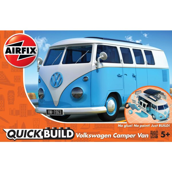 VW Camper Van QUICK BUILD Blue (No glue or paint required)