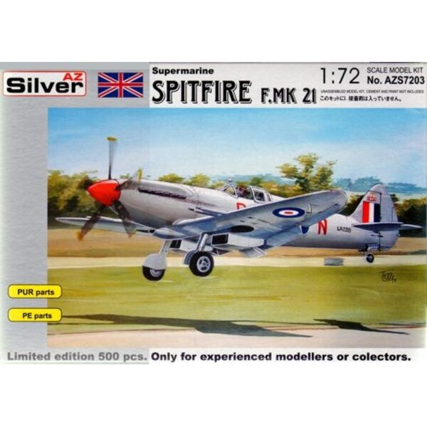 Supermarine Spitfire Mk.21 with etched and resin parts. Limited Edition Series of 500 kits worldwide.