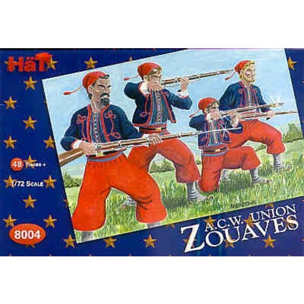 American Civil War Zouaves. 48 infantry with several extra heads and backpacks for potential conversions.