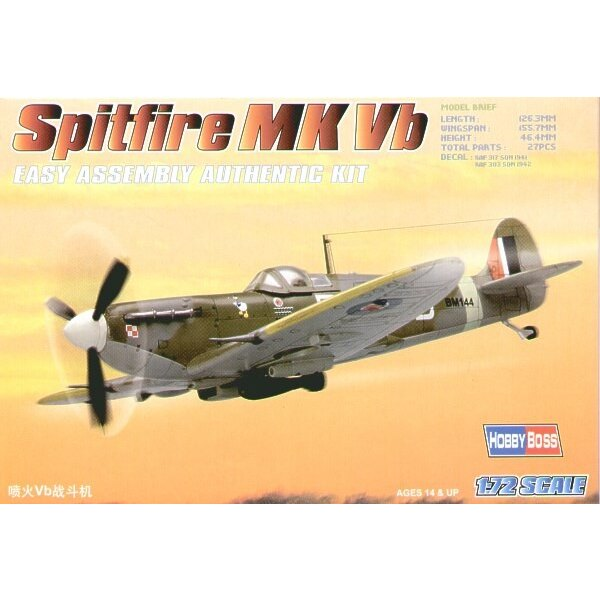Supermarine Spitfire Mk.Vb Easy Build with 1 piece wings and lower fuselage 1 piece fuselage. Other parts as normal. Optional op