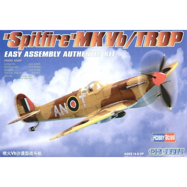 Supermarine Spitfire Mk.Vb Trop Easy Build with 1 piece wings and lower fuselage 1 piece fuselage. Other parts as normal. Option