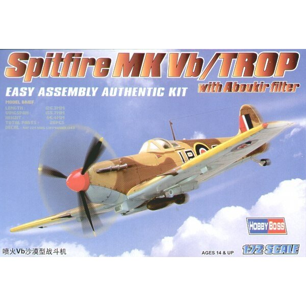 Supermarine Spitfire Mk.Vb Trop with Filter Easy Build with 1 piece wings and lower fuselage 1 piece fuselage. Other parts as no