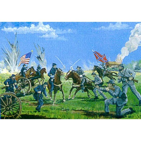 Union & Confederate Artillery Cavalry and Infantry with diorama base