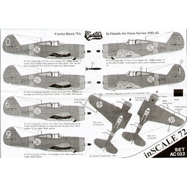 Decals Curtiss Hawk 75A in Finnish Air Force service 1941-42. 12 serials in RLM 71/RLM 65 camouflage