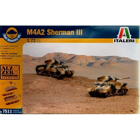 M4A2 Sherman III includes 2 snap together vehicles