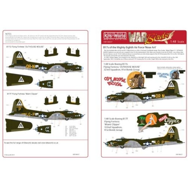 Decals Boeing B-17F/Boeing B-17G 322nd BS 91st BG ′Miami Clipper′ - 323rd BS 91st BG ′Out -House Mouse′