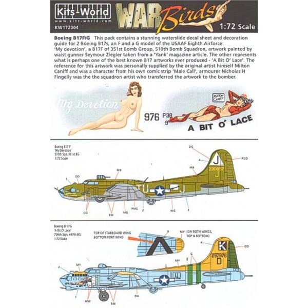 Decals Boeing B-17F/Boeing B-17G Flying Fortress (2) 230857 TU-J/J My Devotion 297976/K 709th BS 447th BG A Bit o′ Lace. Individ