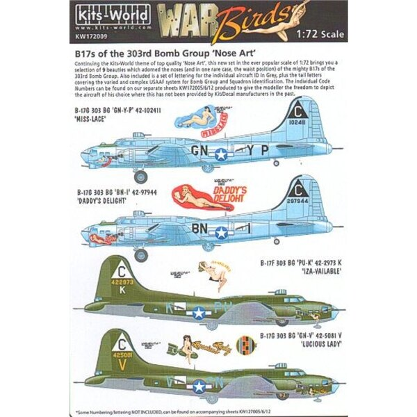 Decals Boeing B-17F/Boeing B-17G Flying Fortress 303rd BG Nose Art (9) GN-YP/C Miss Lace: BN-I/C Daddy′s Delight PU-K/C Iza-Vail