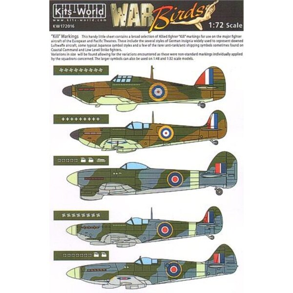 Allied Kill Markings including several styles of Swastikas and Hinomarus suitable for use on Supermarine Spitfire Hawker Hurrica