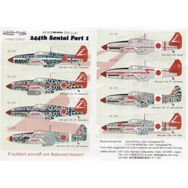 244th Sentai Part 1. (8) A wide selection of camouflage schemes and unit markings for eight Kawasaki Ki-61 Hein Type I-Tei (Tony