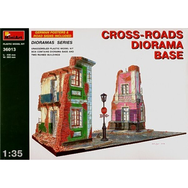 cross roads diorama base with 2 ruined houses