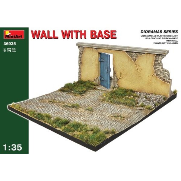 Damaged European wall with door in on a diorama Base