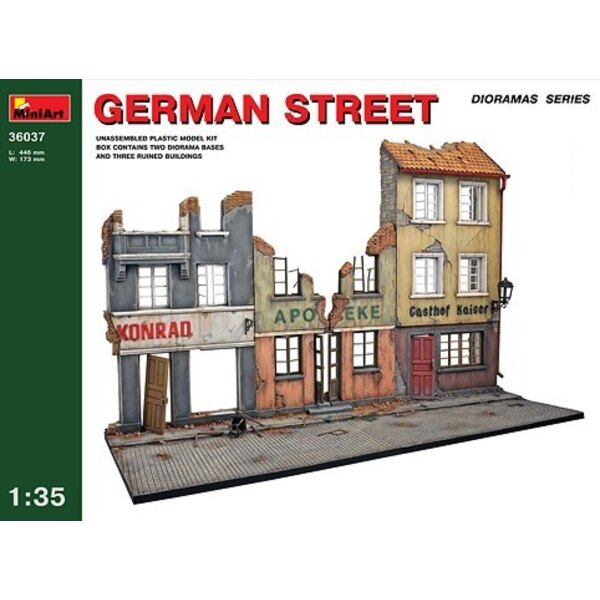 German street. 3 damaged shop fronts and street base