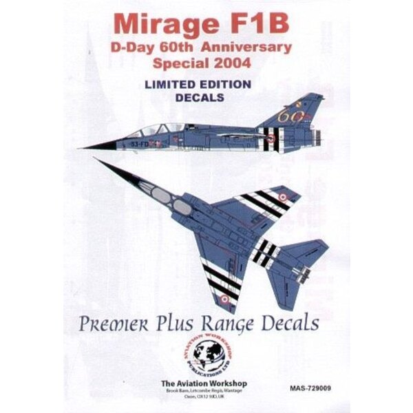 Decals Dassault Mirage F.1B D-Day 60th Anniversary Special June 2004. 33-FD with black/white D-Day stripes