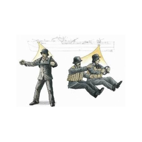 S-100 Schnellboot 3.7cm Anti Aircraft gun crew figures x 3 (designed to be assembled with model kits from Revell)