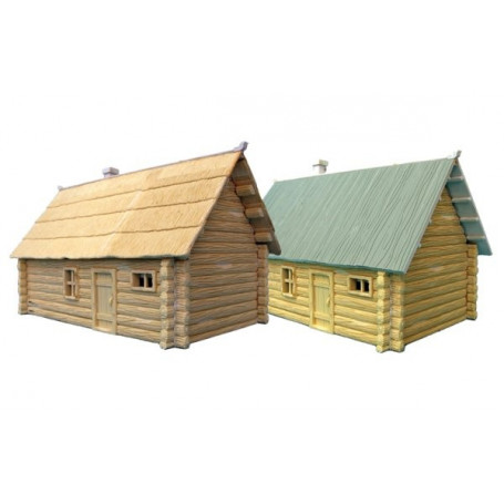 2 x Single Storey Log House. (1 x thatch roof 1 x planked roof)