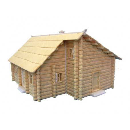 Two storey Log house with thatch roof. Prepainted