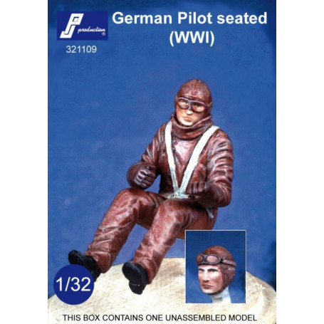 German WWI pilot seated in aircraft. Optional head wearing goggles or not