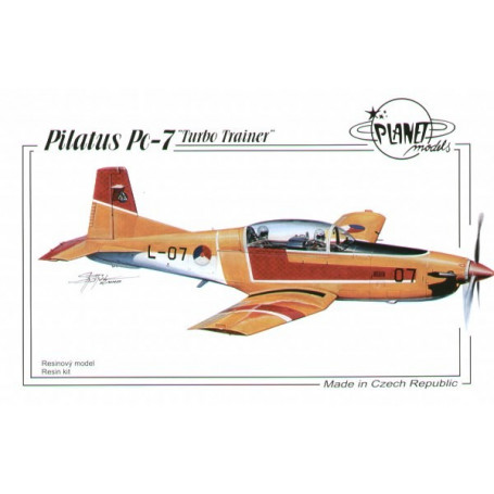 Pilatus Pc-7. Full resin kit of a trainer aircraft. Kit contains vacu canopy and decals for Dutch and Swiss aircraft.