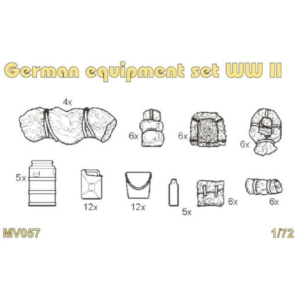 German equipment set WWII. Set contains detailed German equipment set WWII oil cans water cans jerry cans sleep bags celt canvas