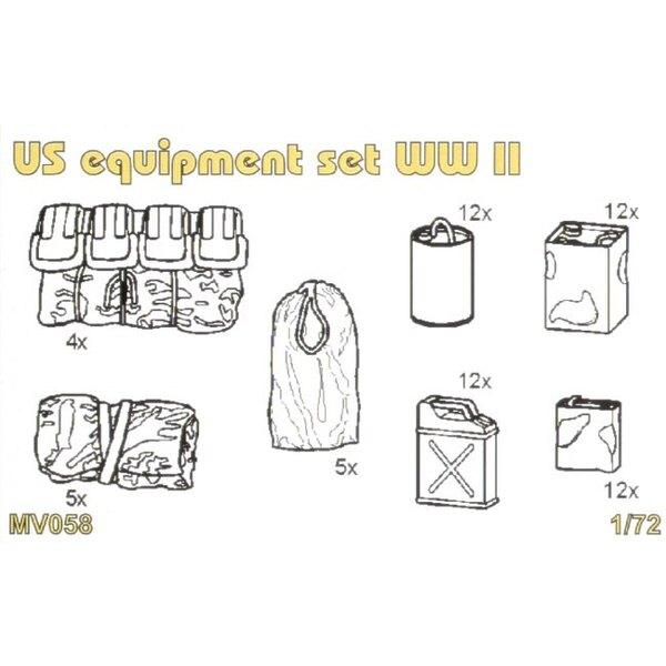 US equipment set WWII Set contains detailed US equipment set WWII jerry cans oil cans sleep bags celt canvas. 62 pcs.