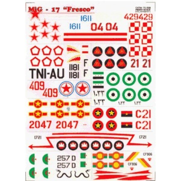 Mikoyan MiG-17 Fresco (13) White 02 Blue 1611 Red 04 all Russian Red 429 Poland Black 1181 Indonesia Red 21 Mosambique Egypt Red