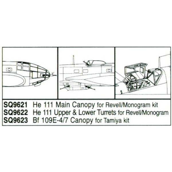 Heinkel He 111 main canopy (designed to be assembled with model kits from Monogram and Revell)