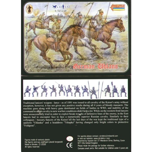 German Uhlans WWI. 12 figures and 12 horses. No duplicates.