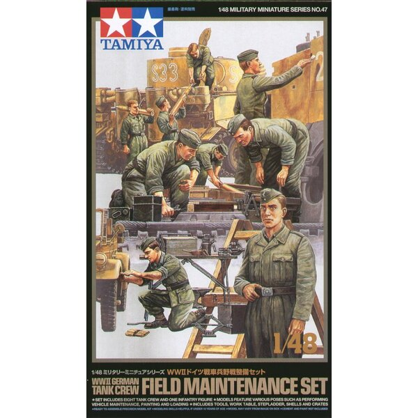 WWII German Tank Crew. Set includes 9 figures doing various tasks in realistic standing and kneeling poses. Large selection of a