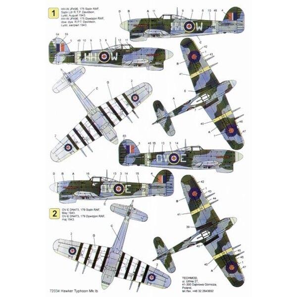 Hawker Typhoon Mk.Ib (3) JP496 HH W 175 Squadron S/L T.P.Davidson 1943 DN473 OV E 179 Squadron DN406 PR F 609 Squadron Manston 1