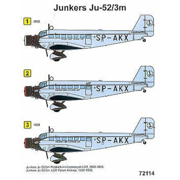 Junkers Ju 52/3M (1) LOT Polish Airlines 1936-39 SP-AKX