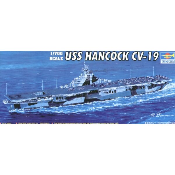 USS Hancock CV-19 with blue vac-formed sea base