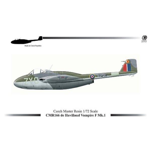 de Havilland Vampire F.1 (new mould). Decals de Havilland Vampire F.1 - TG/311 -- ′ZY-O′ No.247 Squadron RAF Odiham 1946 de Havi
