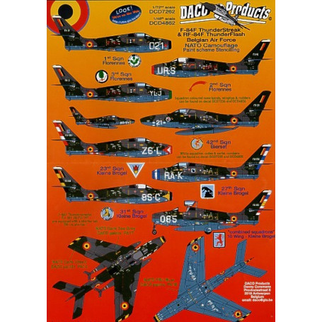 Decals Republic F-84F Thunderstreak and Republic RF-84F Thunderflash. Belgian Air Force NATO camouflage Data Stencilling. Includ