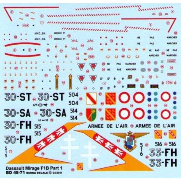 Decals Dassault Mirage F1 B Part 1 30-ST, 30-SA, 30-FH, 33-FH (4 schemes)