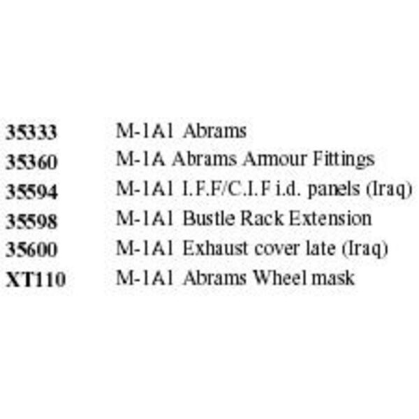 M1A1 ABRAMS (designed to be used with model kits from Tamiya) This EBIG set includes the following Eduard items : ED35333 M1A1 A