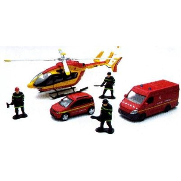 Set Firefighter Helicopter +2 Cars 1:43