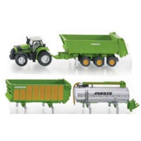 Tractor Deutz Fahr + Trailer 1:87