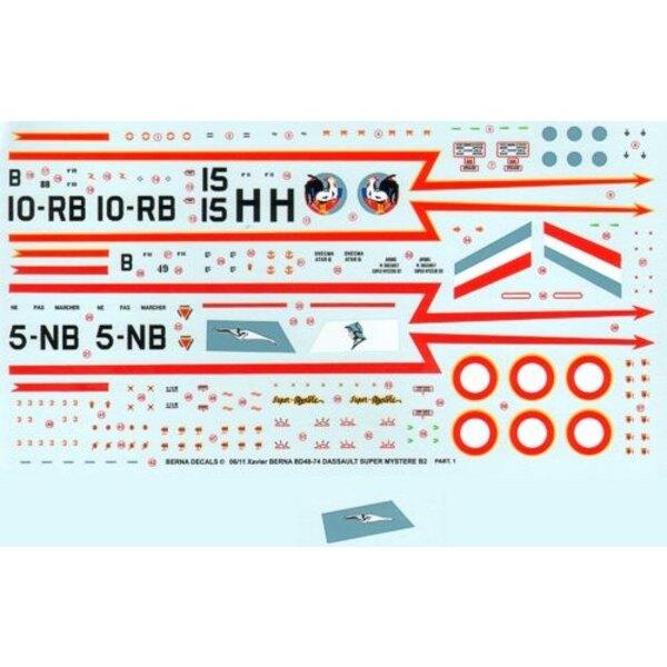 Decals Dassault Super Mystere B2 Part 1 : N 49 5-NB ′Vendee′, N 88 10-RB ′Seine′, & N 15 H CEAM