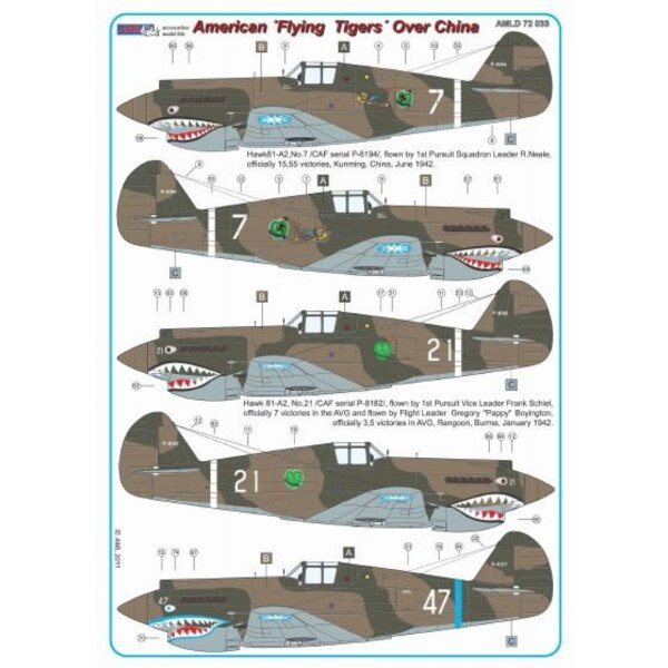 Decals Curtiss Hawk 81-A2 of China AF WWII x 6